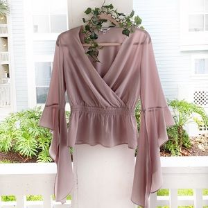 Express Boho Dusty Lavender Statement Sleeve Top S